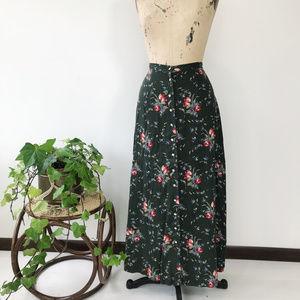 Vintage Floral Button Down Maxi Skirt